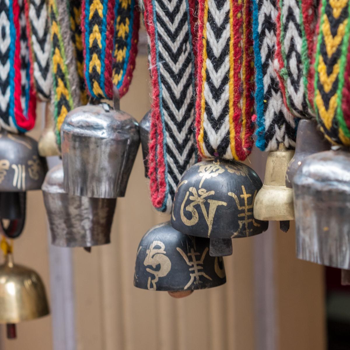 Yak bells on hand-woven straps, Namche Bazaar, Nepal.