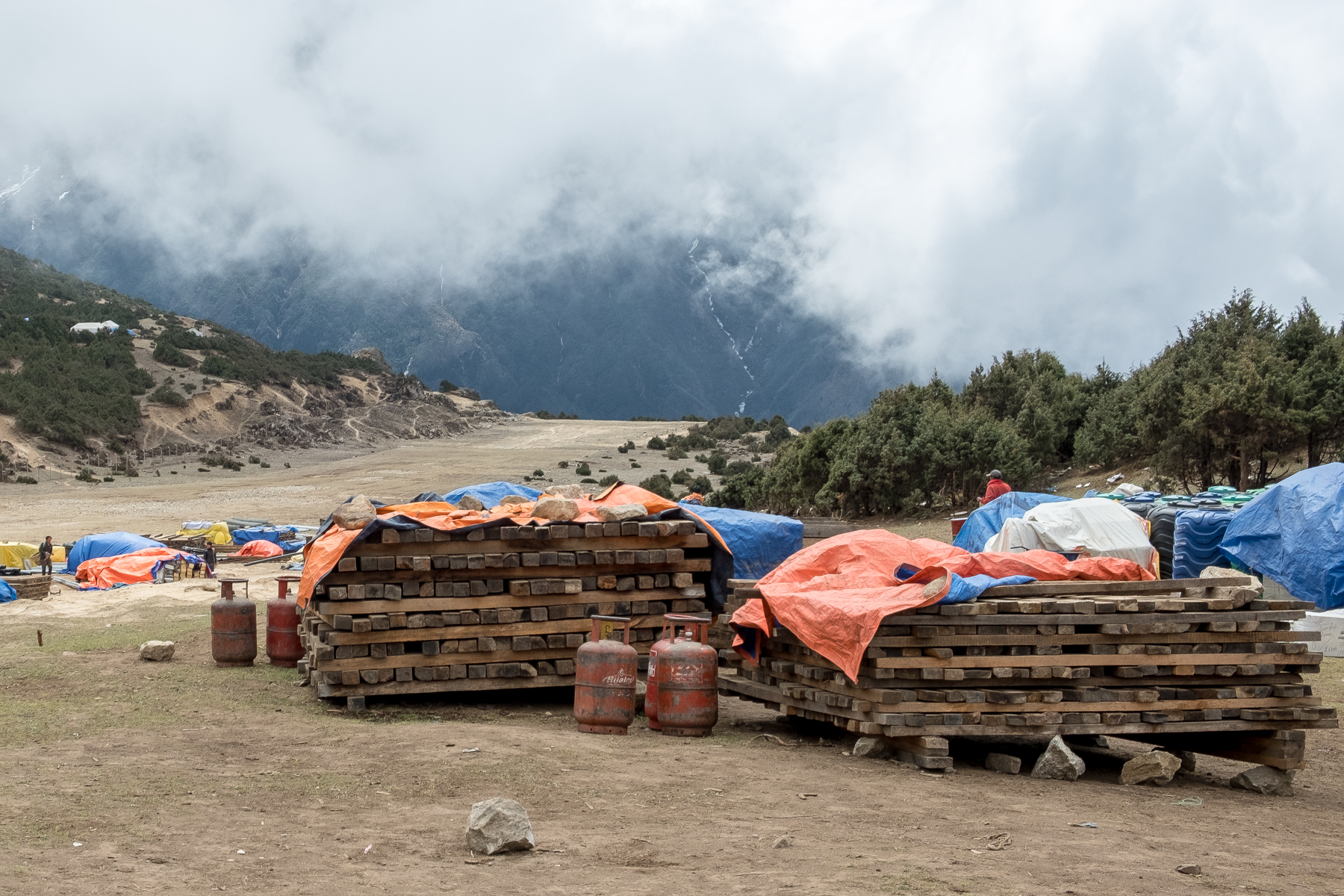 Larger building materials arrive by helicopter in the road-less Khumbu region of Nepal.