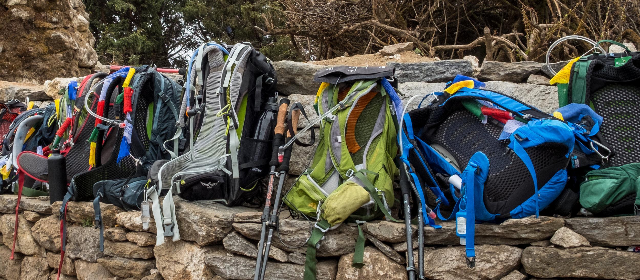 Trekker's packs in Tengboche, Nepal.