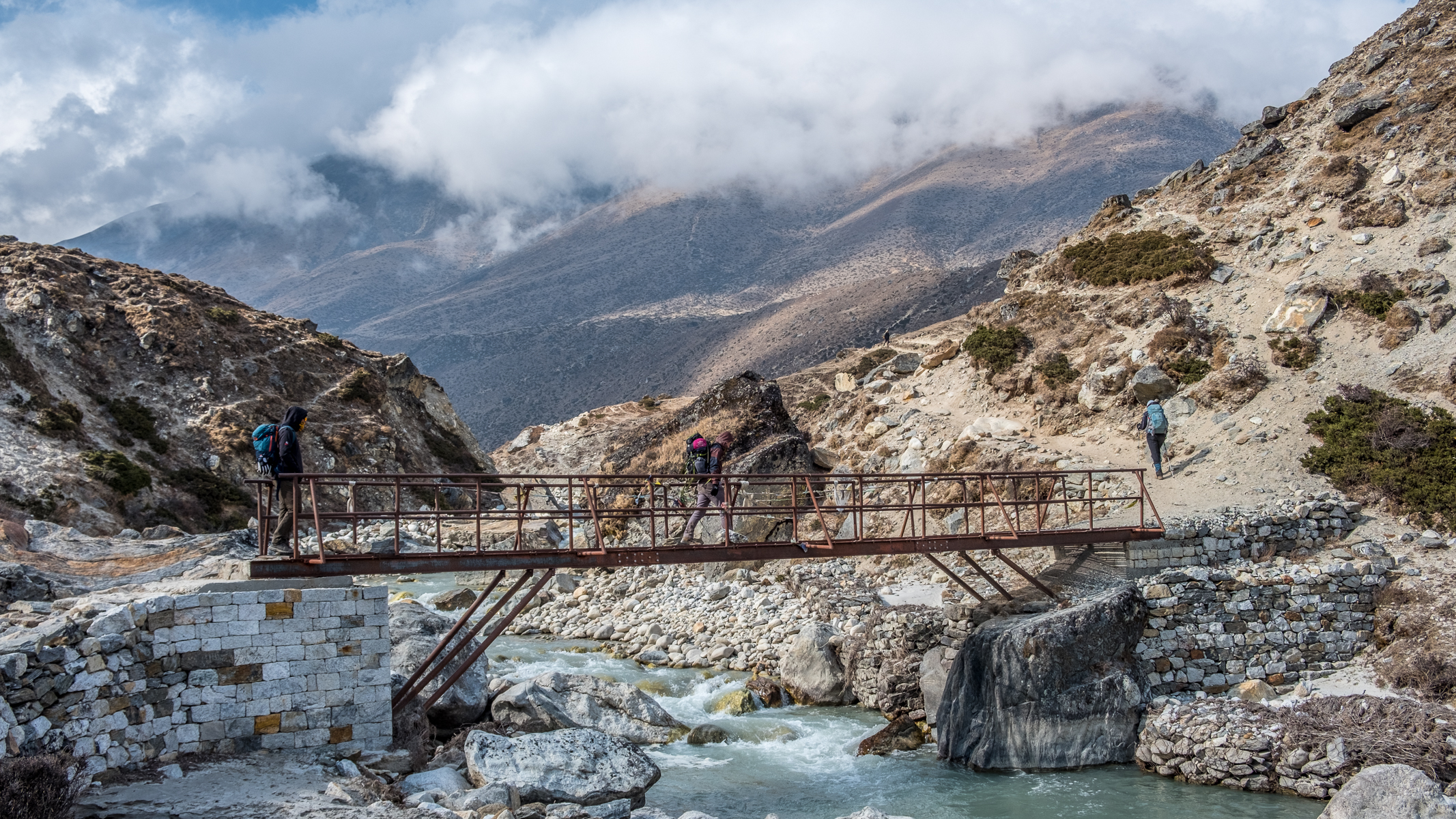 Crossing the Dudh Koshi.