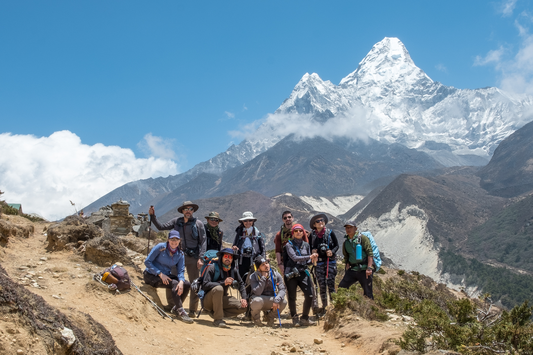 Our crew, with Ama Dablam backing us up.
