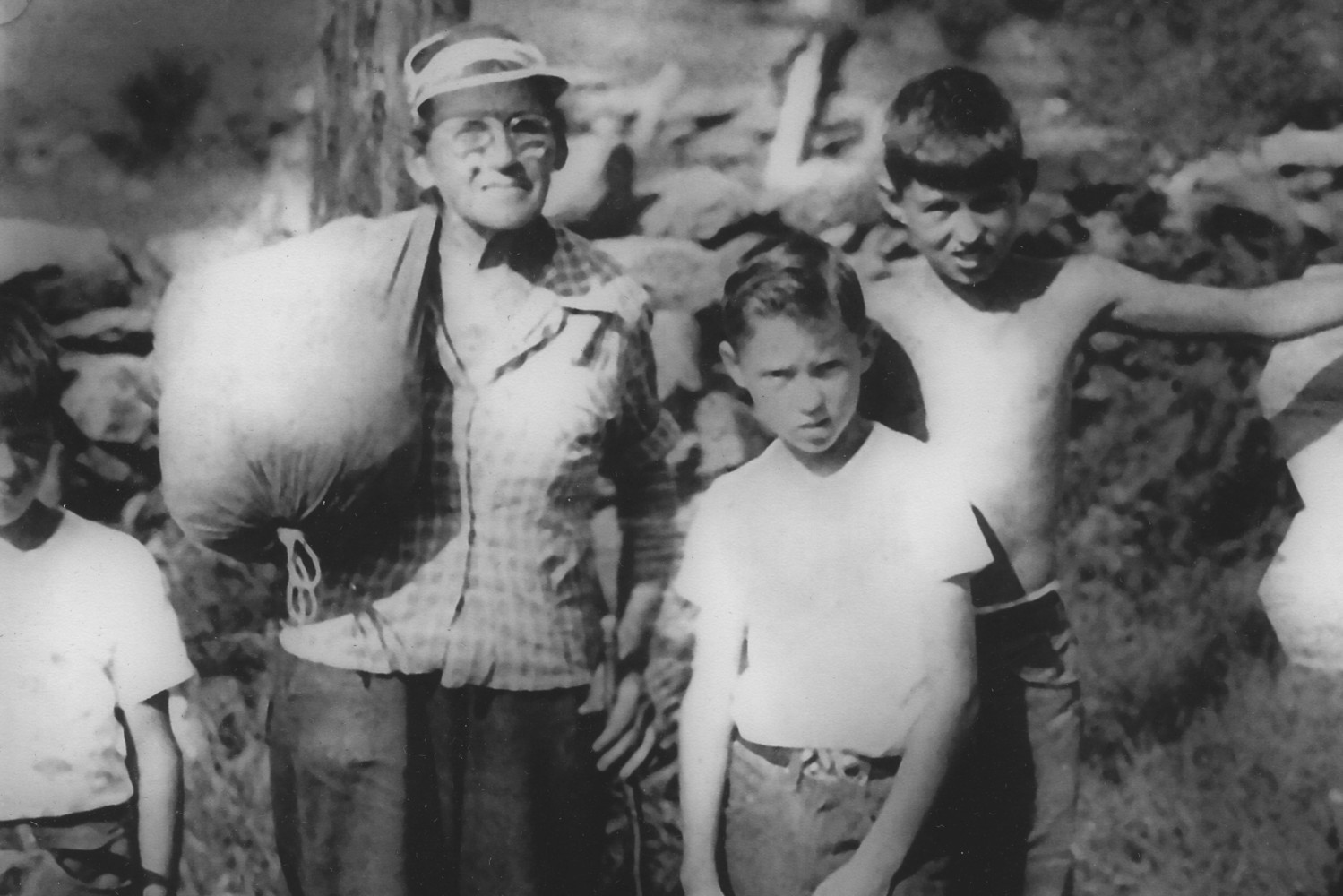 Emma's hike captured the attention of many she came across in her travels. I found this photo of Emma on  longwoodgardens.org  which shows Emma with Peter Thompson and his brothers in Orford, NH as she passed through on her first thru-hike in 1957.