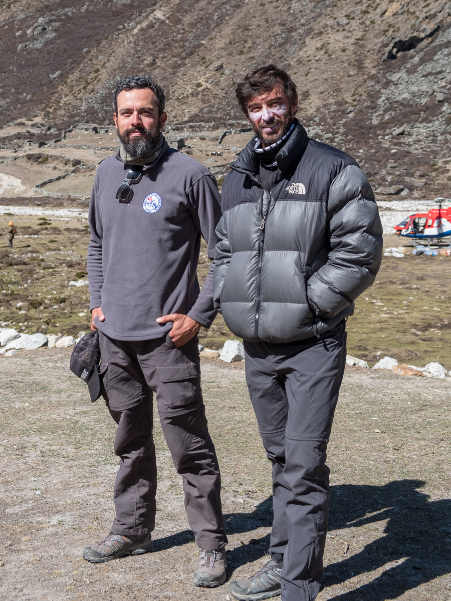 Photographer  Raphel Duarte  and mountaineer  Roman Romancini , of Brazil, on their way to an Everest Summit attempt.