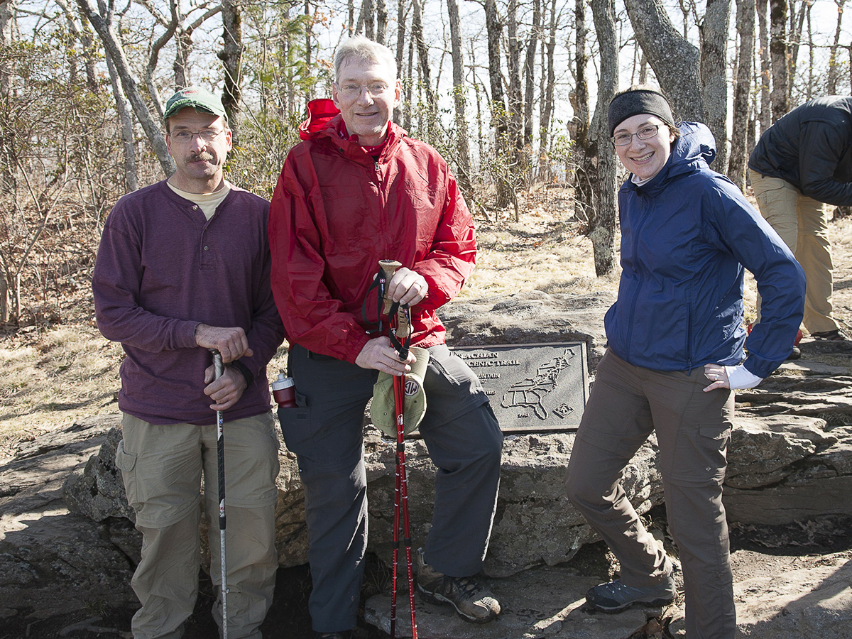 1st day on the Appalachian Trail! Springer Mountain Summit, Georgia, March 12th, 2011. Left to right, Tim, Mike and Melissa, later known as Tenderfoot, LongTime and Click!