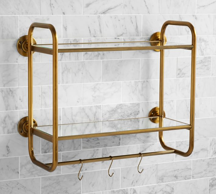 Pottery Barn's  vintage wall shelf . I'm mixing this brass with oil-rubbed bronze...hoping it comes out looking okay!