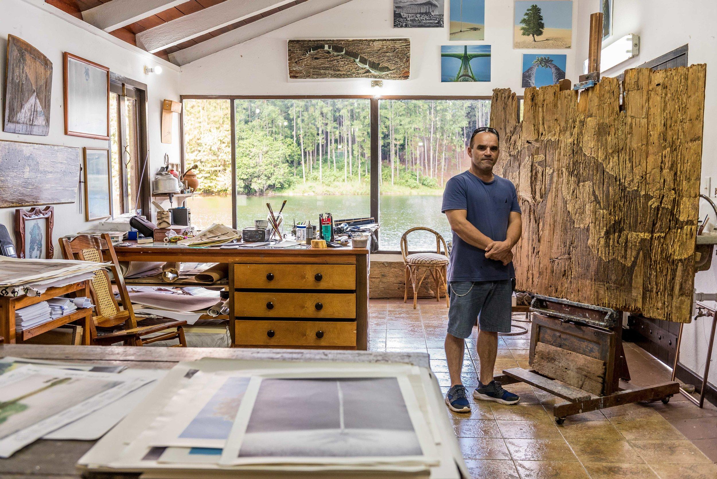 Artist Lester Campa in his studio.