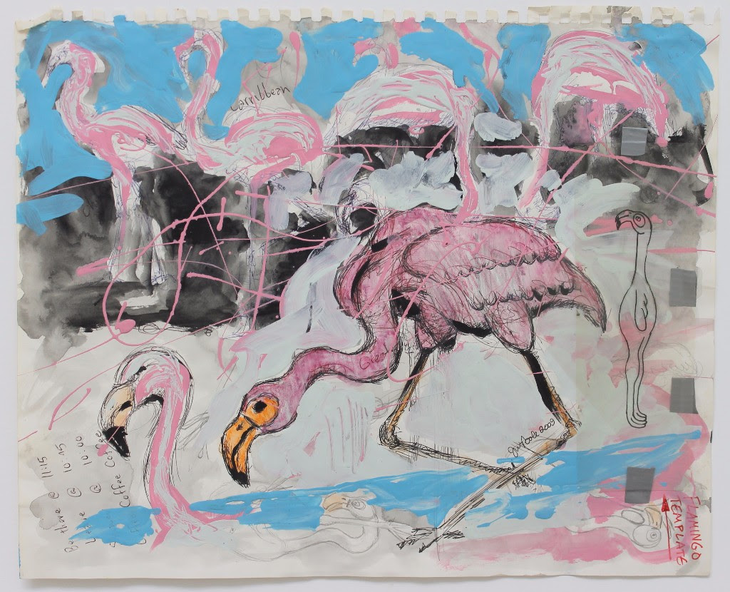 JIM POOLE, FLAMINGO, MIXED MEDIA ON PAPER