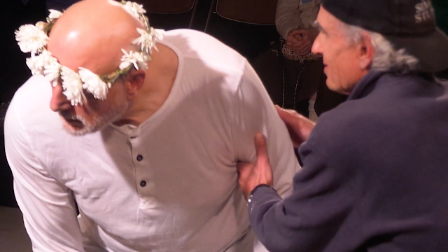 """Robert S. Gregory as """"King Lear"""", Roger H. Simon as """"The Fool"""""""