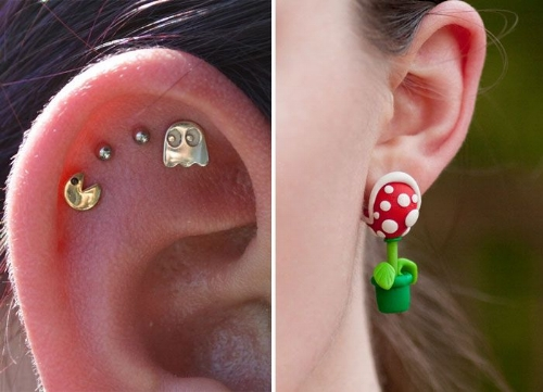 An example of how piercings can represent the personal interests and hobbies of the person who is pierced.
