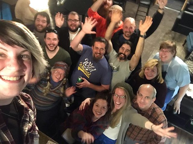 I stood on my bar at the end of my shift and took 3 blurry photos with my family. All of you lovelies are in at least one of them. I love you all. Thanks for all of it.