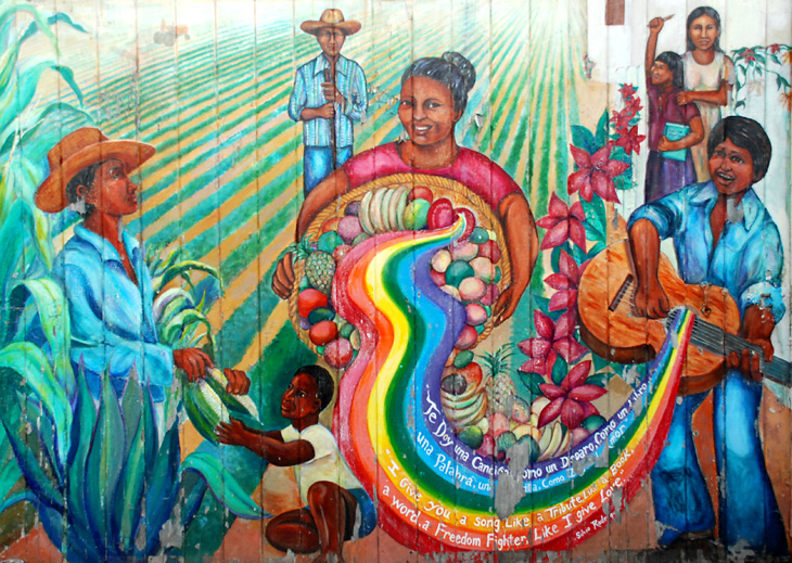 The Culture Contains The Seeds of Resistance, artists: O'Brien Thiele, Miranda Bergman (1984).    Image: Courtesy    SF Mural Arts