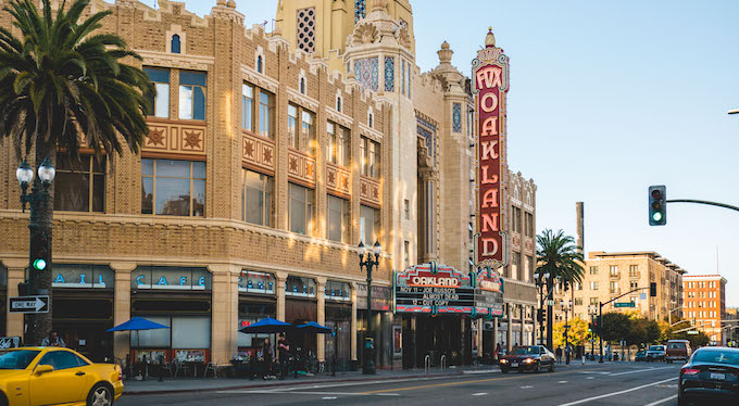 Uptown Oakland is known for its nightlife and Art Deco gems like the Fox Theater.