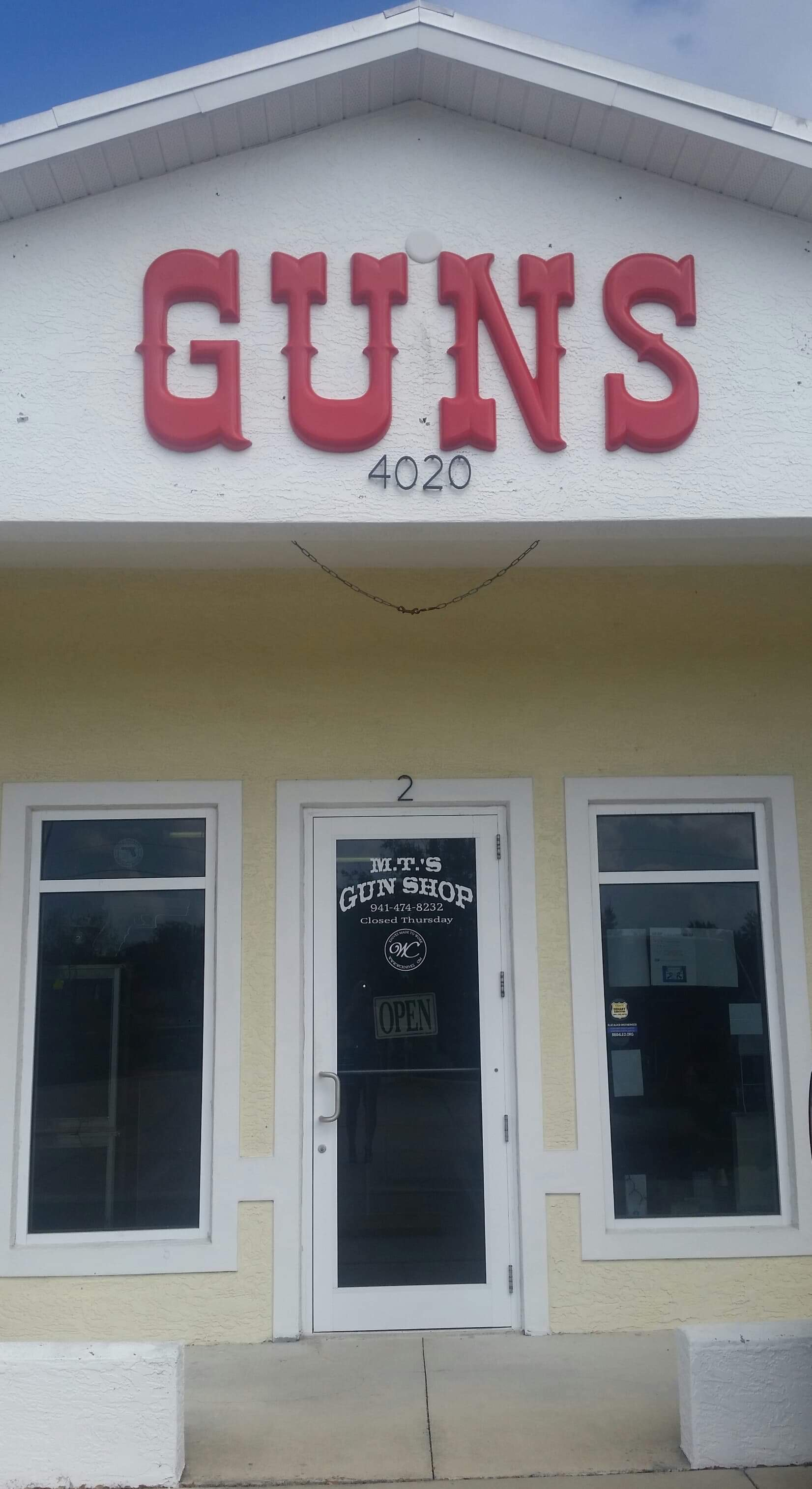 M.T.'s Gun Shop. Inc. - 4020 N. Access Rd. Unit 2Englewood, FL. 34224Contact Vern Kohlenberg : 941 474 8232Facebook page direct link.NO WEBSITE
