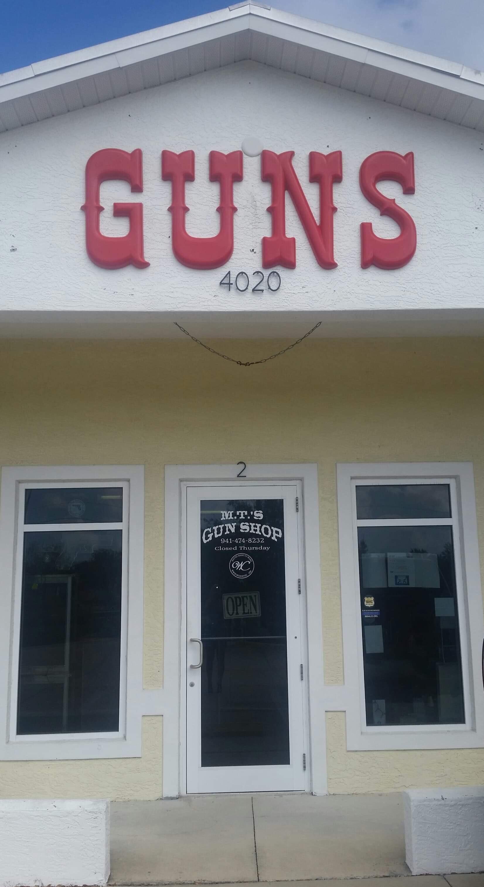 M.T.'s Gun Shop. Inc. - 4020 N. Access Rd. Unit 2Englewood, FL. 34224Contact Vern Kohlenberg : 941 474 8232NO WEBSITE