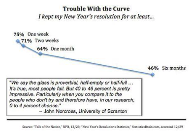 The percentage of individuals who kept their New Year's resolutions throughout the year.