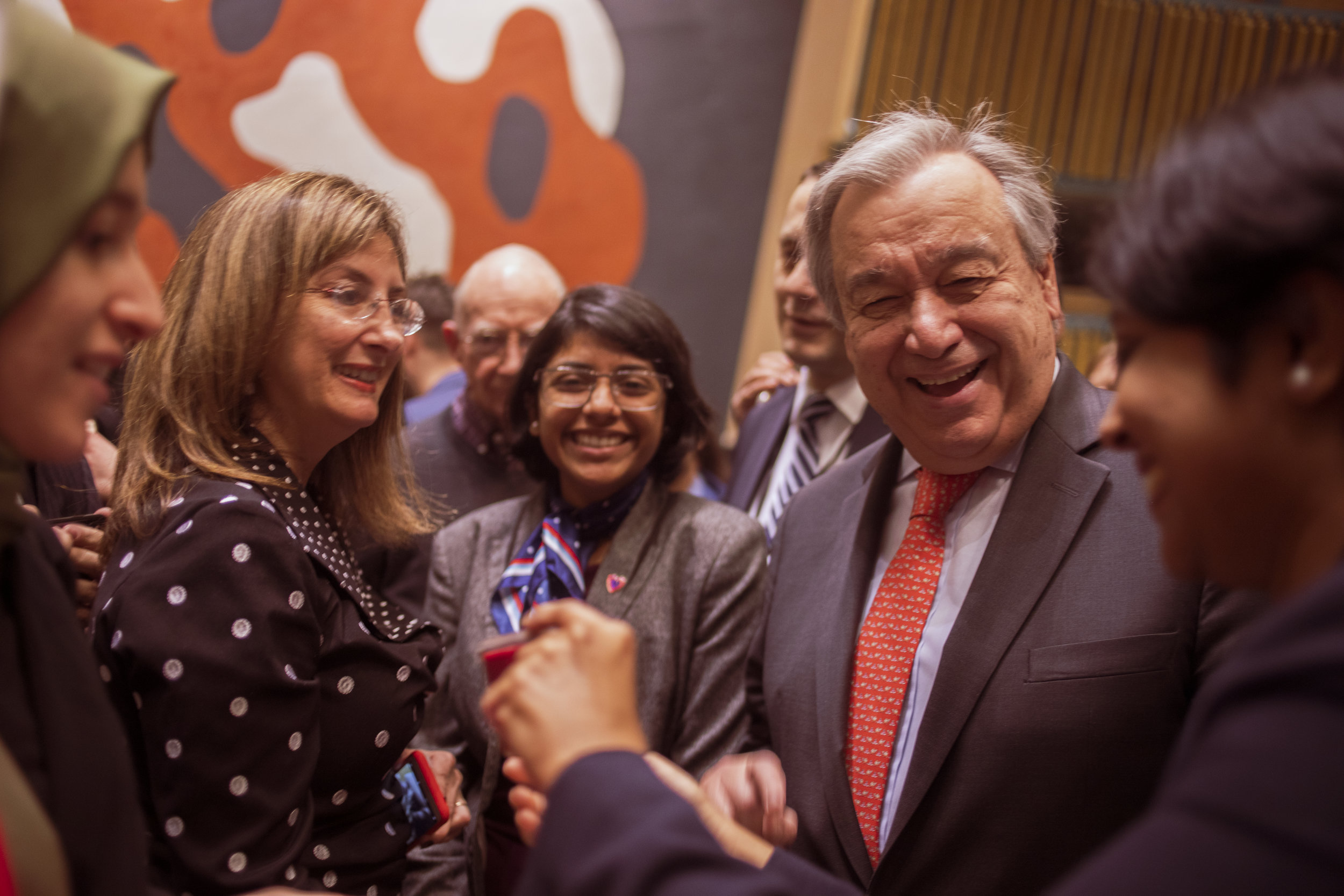 UN Secretary-General António Guterres can be seen in the crowd with Sana'a Hussien, Chair of Special Initiatives for UNA Chicago. Photo courtesy of Christopher Dowell Photography.