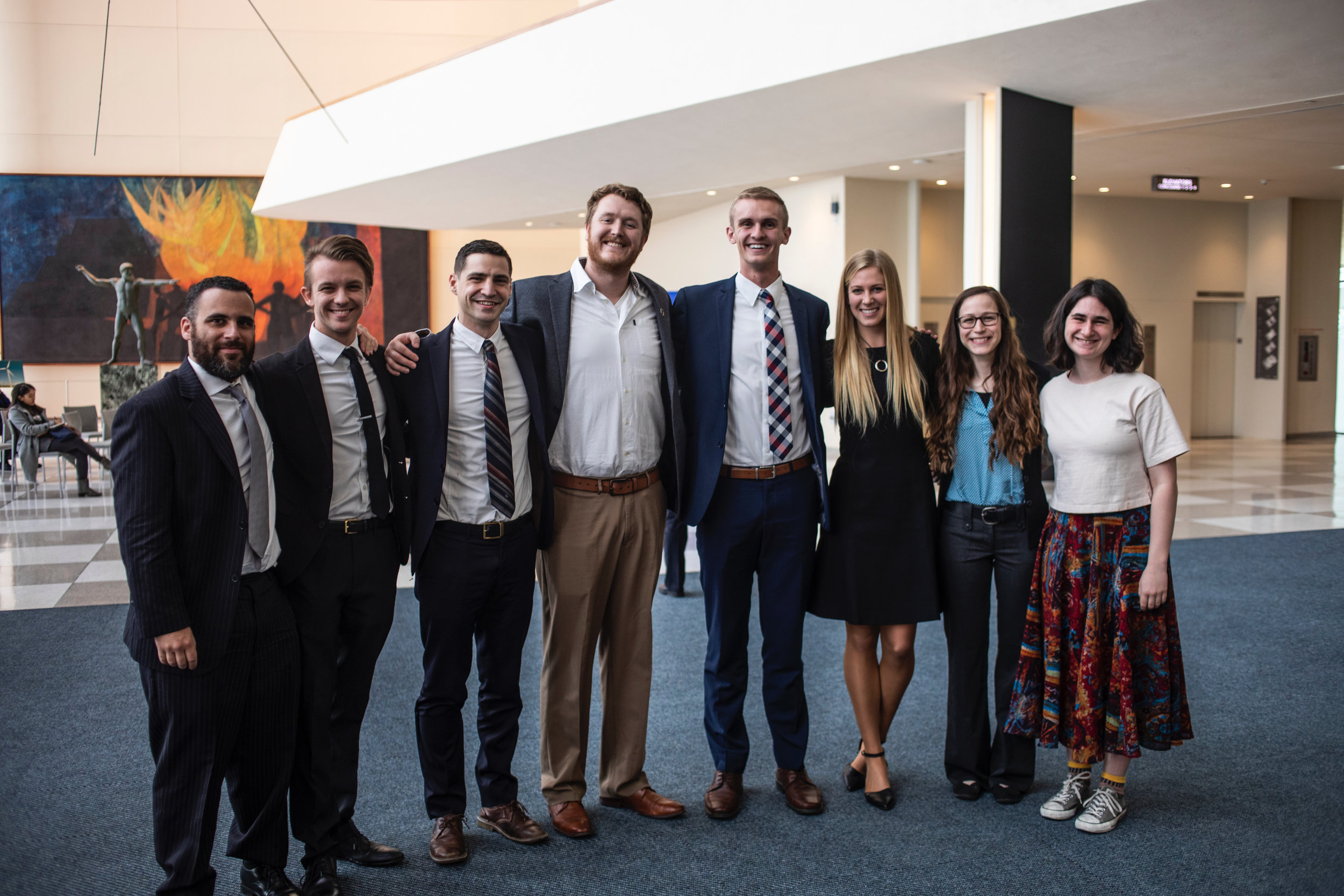The IOR delegation, and other inspiring youth with Michael Scott Peters, U.S. Youth Observer to the UN. From left to right: Juan, Sebastian, Austin, Chris, Michael, Caroline, Laurel, and Ellie.  Photo Courtesy of Christopher Dowell Photography