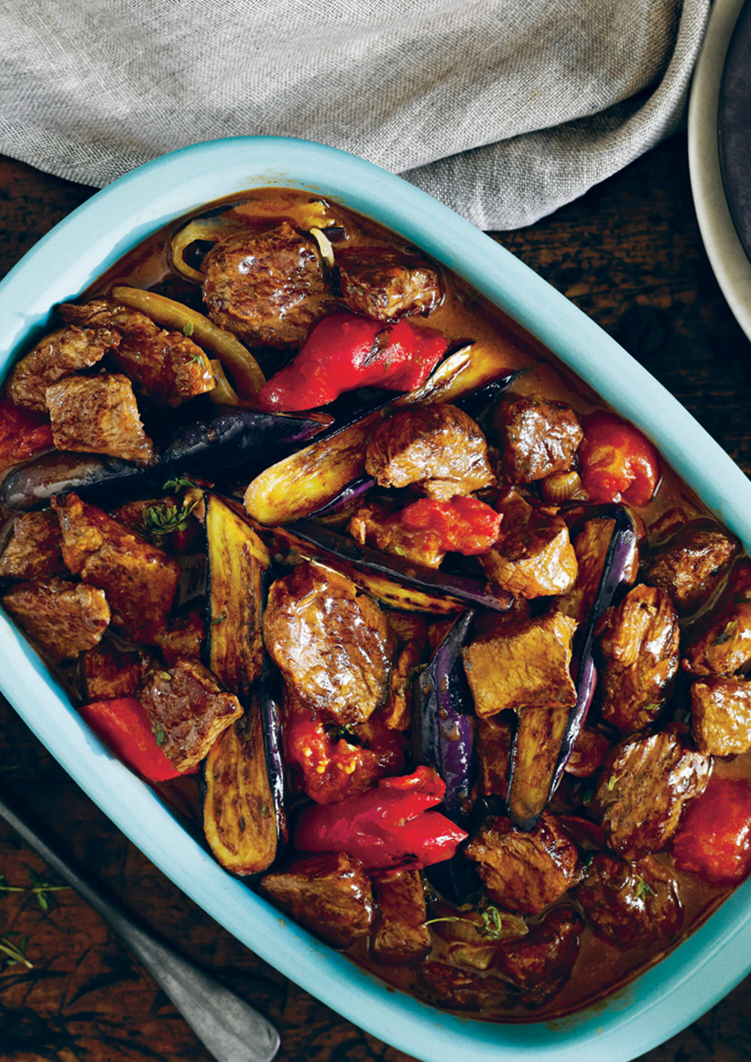 One-Pot Beef Casserole with Roasted Eggplant, Tomato and Capsicum