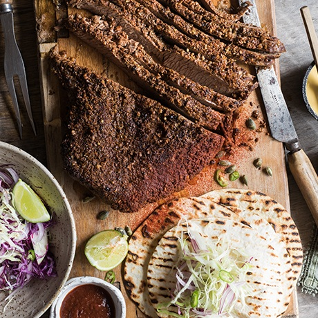 MARINATED BEEF BRISKET - This is a perfect winter meal to get started at lunch time, the longer cooking time of this brisket makes for a flavourful and tender eating experience. We like to pair this with warmed tortillas and a crunchy winter slaw.