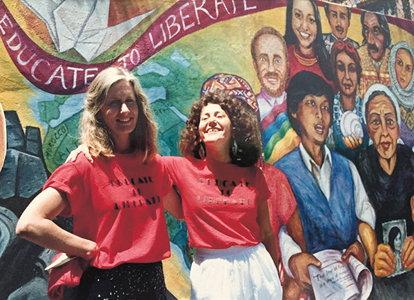 Jane Norling, Miranda Bergman at launch of 400' mural  Educate to Liberate , San Francisco, 1988.