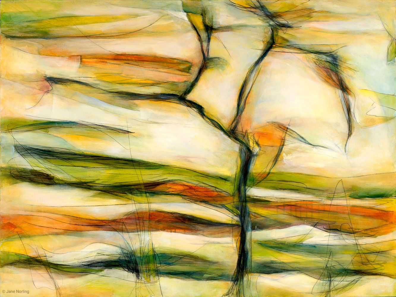 "Cistern , oil and graphite on canvas, 30""x40"", 2008  Location: Hayward Permit Center, 399 Elmhurst St, Hayward, CA"