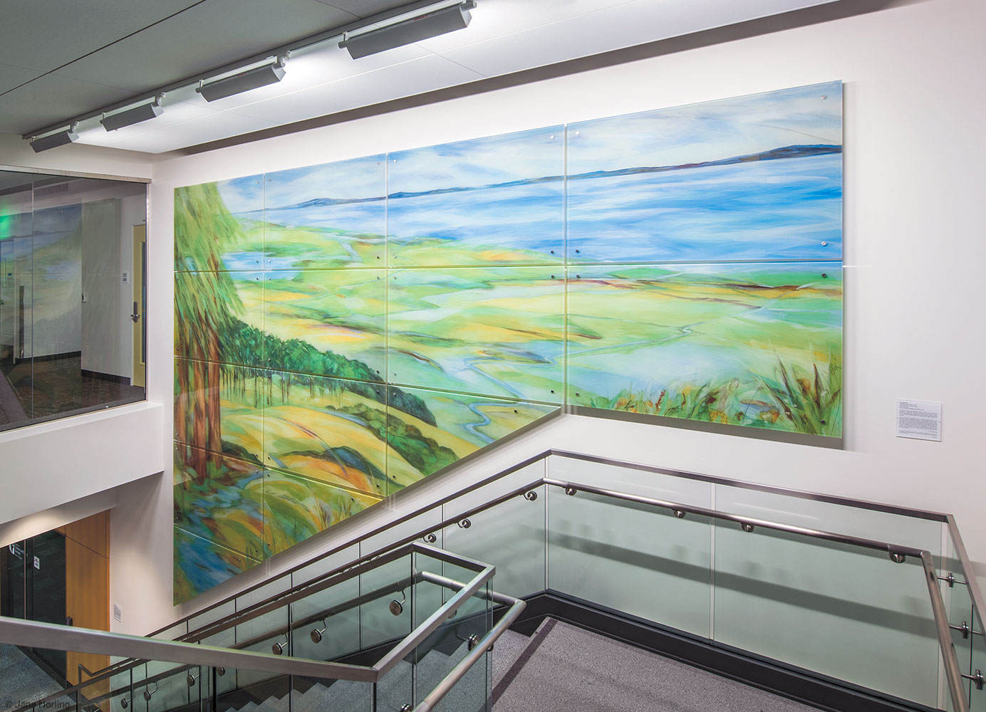 Alameda County Water , Lobby art seen from second floor. Digital ceramic print on glass in six parts. 2016 commission, Alameda County Arts Commission.
