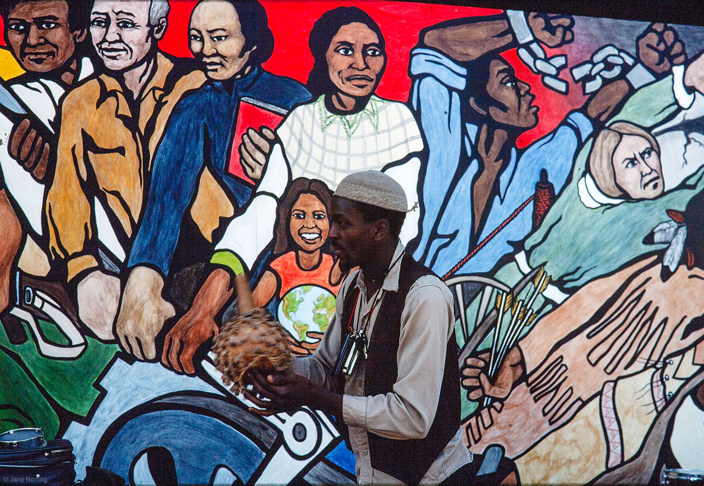 "200 Years of Resistance , (Detail) Haight Ashbury Muralists–Miranda Bergman, Vicky Hamlin, Jane Norling, Miles Stryker, Arch Williams, 1976. Politec mural paint on wood. Commission by Rolando Castellon, San Francisco Museum of Modern Art, for ""People's Murals, Some Events in American History."" Eight-mural museum exhibition July 1976, followed by neighborhood installations,  200 Years  at corner of Haight & Masonic, San Francisco, California. Location unknown."