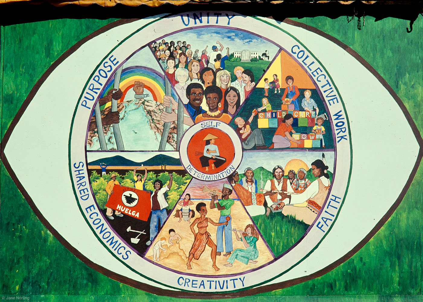Unity , Mulready's Store, Ashbury & Haight, San Francisco CA. Haight Ashbury Muralists–Miranda Bergman, Jane Norling, Jo Tucker, 1974. Illustrating African Principles of Unity. Destroyed.