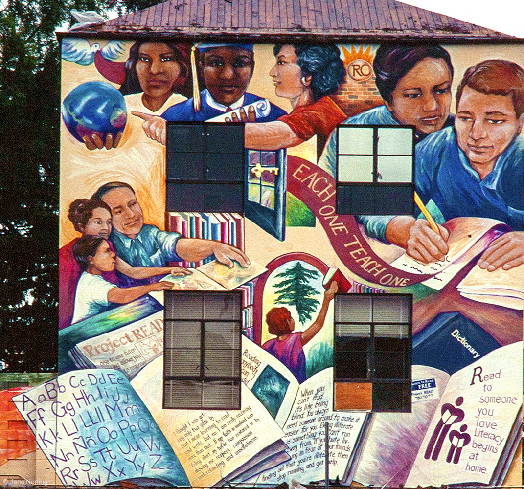 Project Read , City Hall, Redwood City, California, 1991. Project Read Adult Literacy Program commission. With community painters learning to paint. Mural destroyed when building taken down.