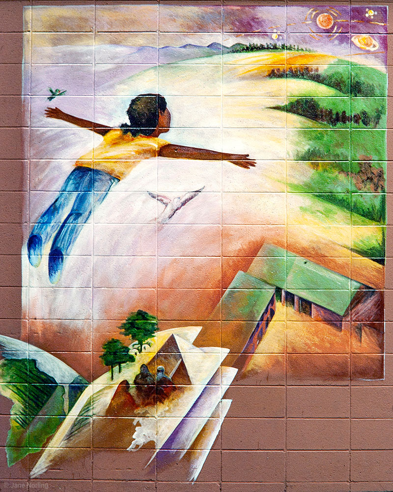 Learn to Fly , Berkwood Hedge School, Berkeley, California, detail, 1994. With Timothy Drescher and student painters.