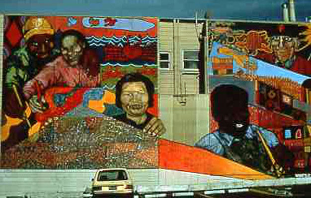 New Visions , 20th and Folsom Streets, San Francisco, California, 1987. Acrylic on wood, 24 x 60 ft. Susan Greene with JN, Eduardo Pineda and developmentally disabled artists. Project of Creativity Explored of San Francisco. Destroyed.