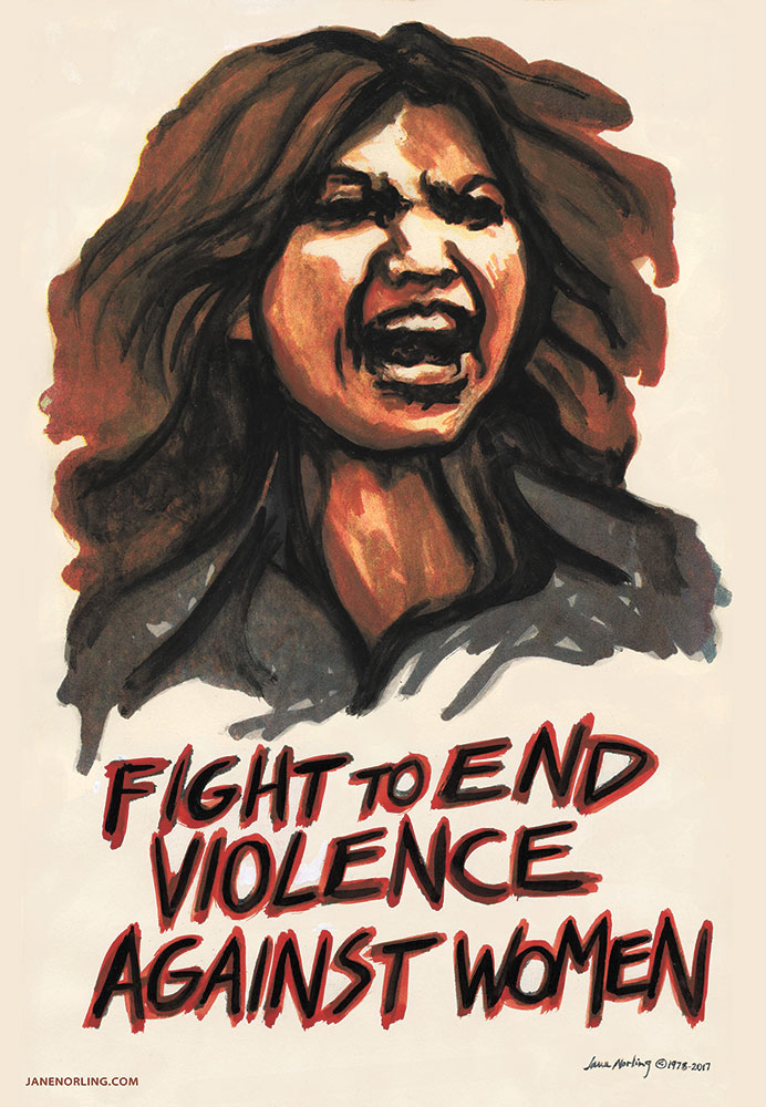 """Fight to End Violence Against Women , gestetner color mimeograph, 14""""x 8.5"""", 1978. Designed & printed at San Francisco Arts Commission's Neighborhood Arts Program.  Figure: Inez Garcia. Digital print version 2017 for January 22 Women's Marches."""