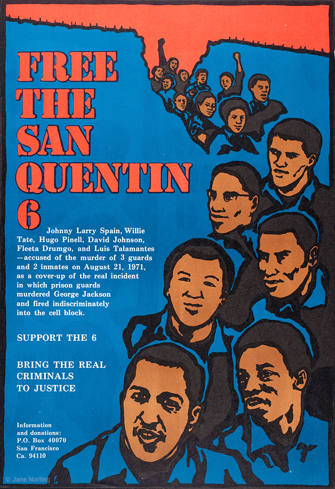 """Free the San Quentin 6 , offset, 22""""x14"""", 1994. California campaign ID poster."""