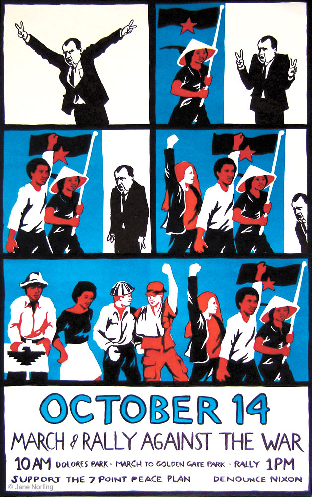 """October 14 March & Rally Against the War , offset, 21.5""""x13.5"""", San Francisco, 1972."""