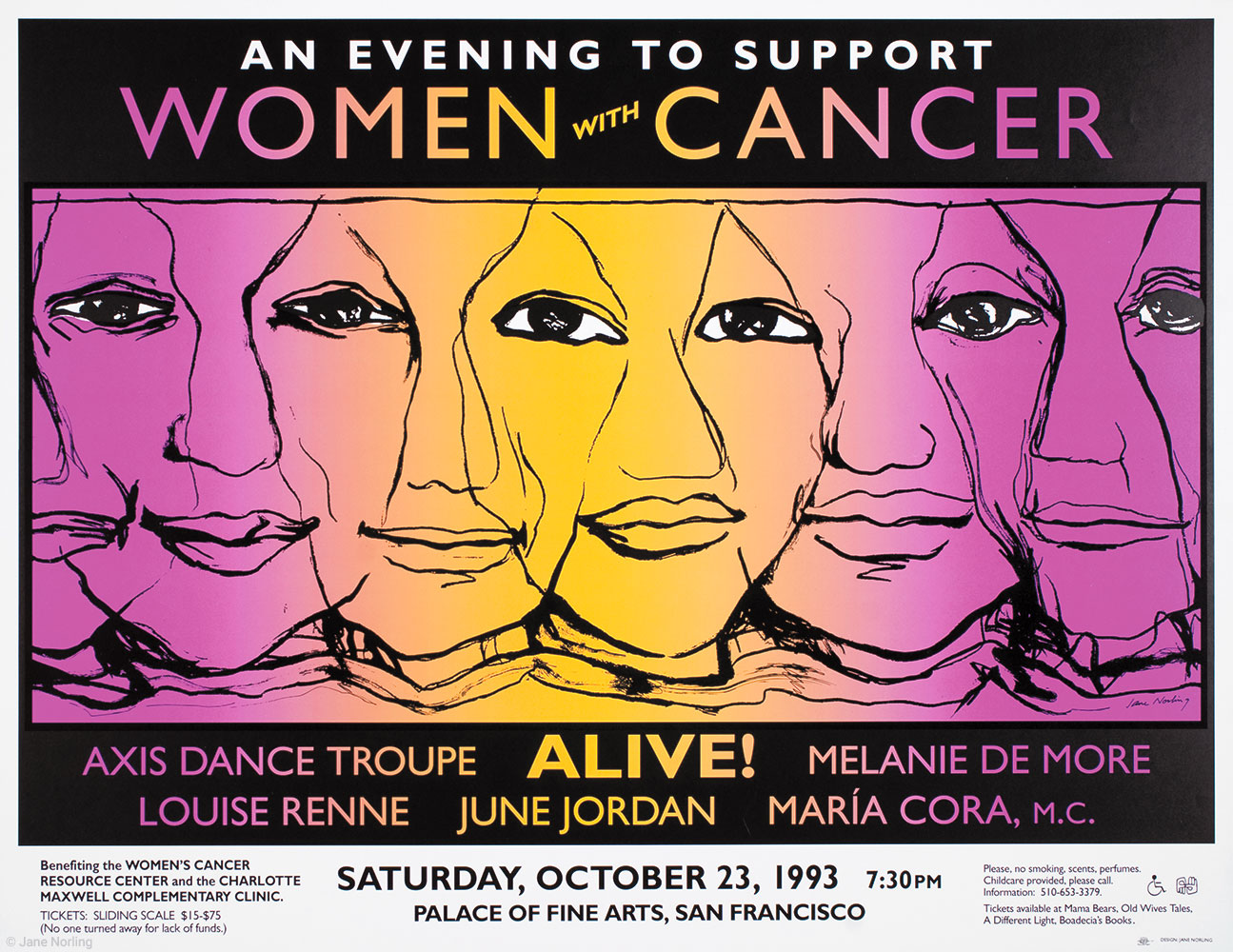 """Evening to Suport Women With Cancer , offset, 17""""x22"""", 1993. Women's Cancer Resource Center, Oakland, California."""