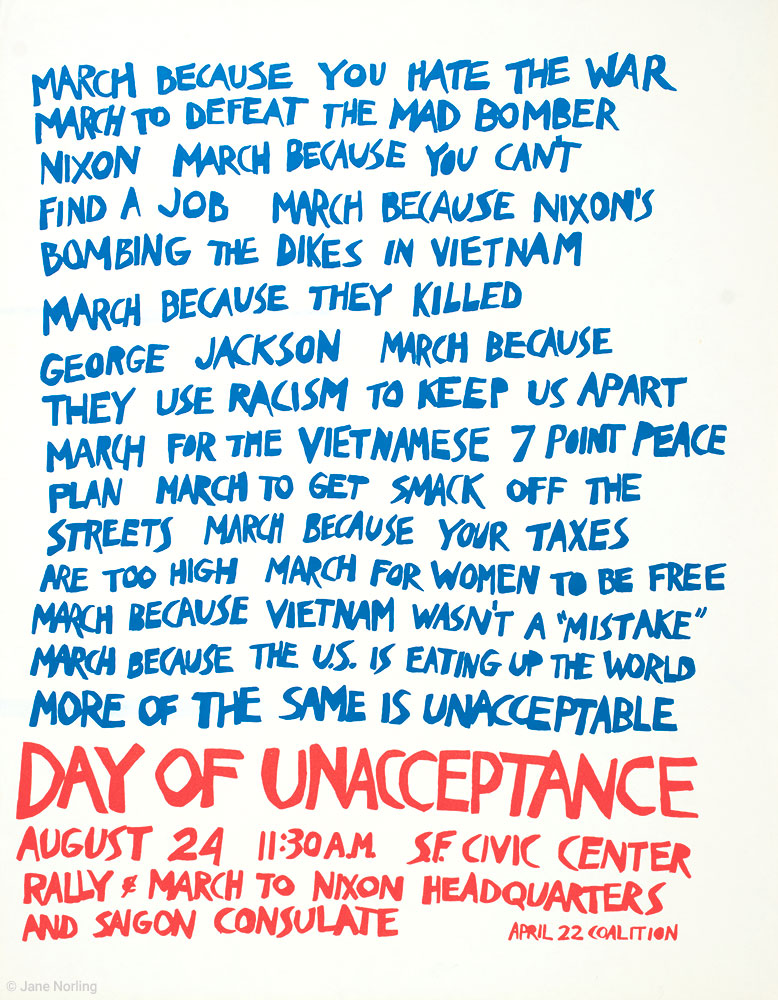 """Day of Unacceptance , offset, 22.5""""x17"""", San Francisco, 1974."""