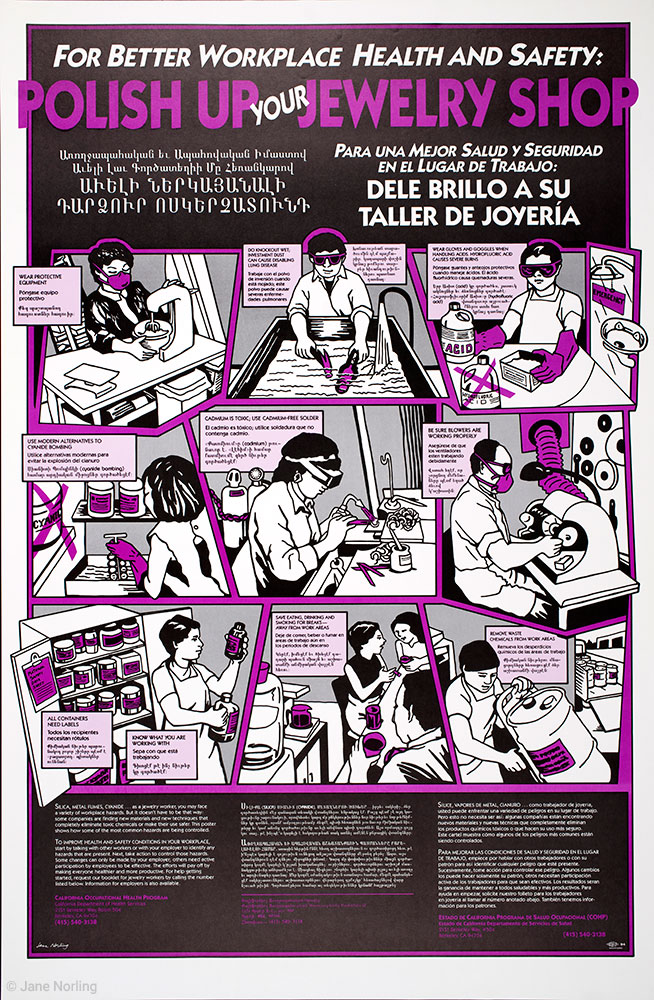 """Polish Up Your Jewelry Shop , offset, 35""""x23"""". California Occupational Health Program, CA Dept Health Services, 1988.   Shop poster (and bus card) in three languages–Armenian, Spanish, English– in Southern CA campaign for jewelry worker safety."""