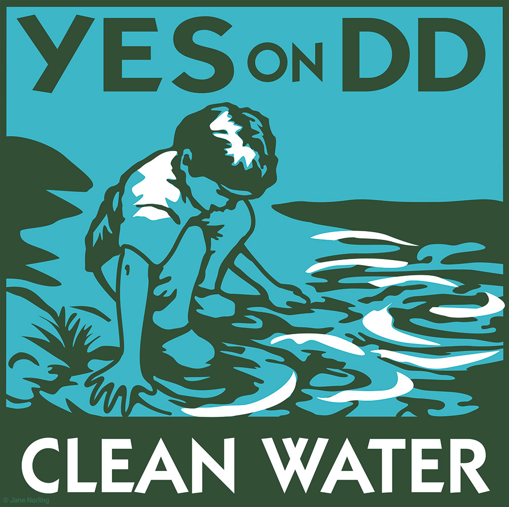 YES on DD, Clean Water , campaign ID/yard sign, Oakland California, 2002.   Lead image of 6 illustrations supporting Oakland waterfront improvements including lake, estuary, parks, trails, bridges, recreation center, arts center, land acquisition, creek restoration.