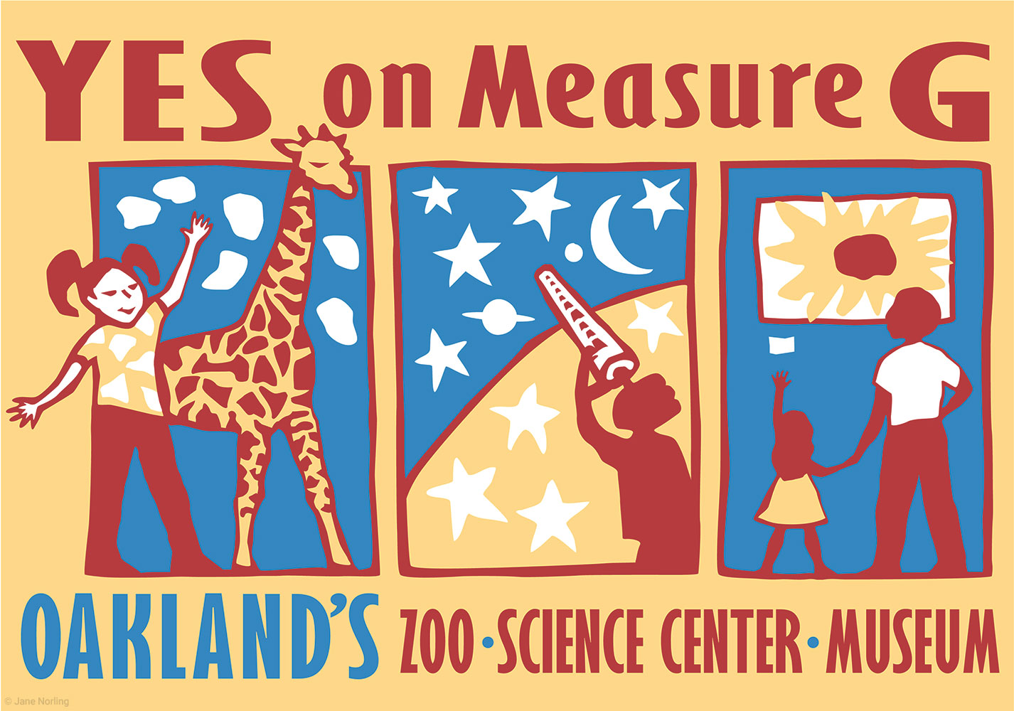 YES on Measure G, Oakland's Zoo, Science Center, Museum , campaign ID/yard sign, Oakland, California, 2001.