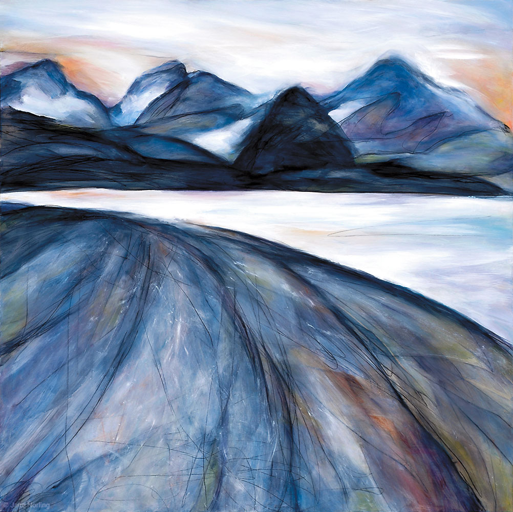 "Huna Tlingit  (previously titled  Muir Inlet ), oil paint/graphite on panel, 40""x40"", 2014. Series  Shaped by Water   Sold"