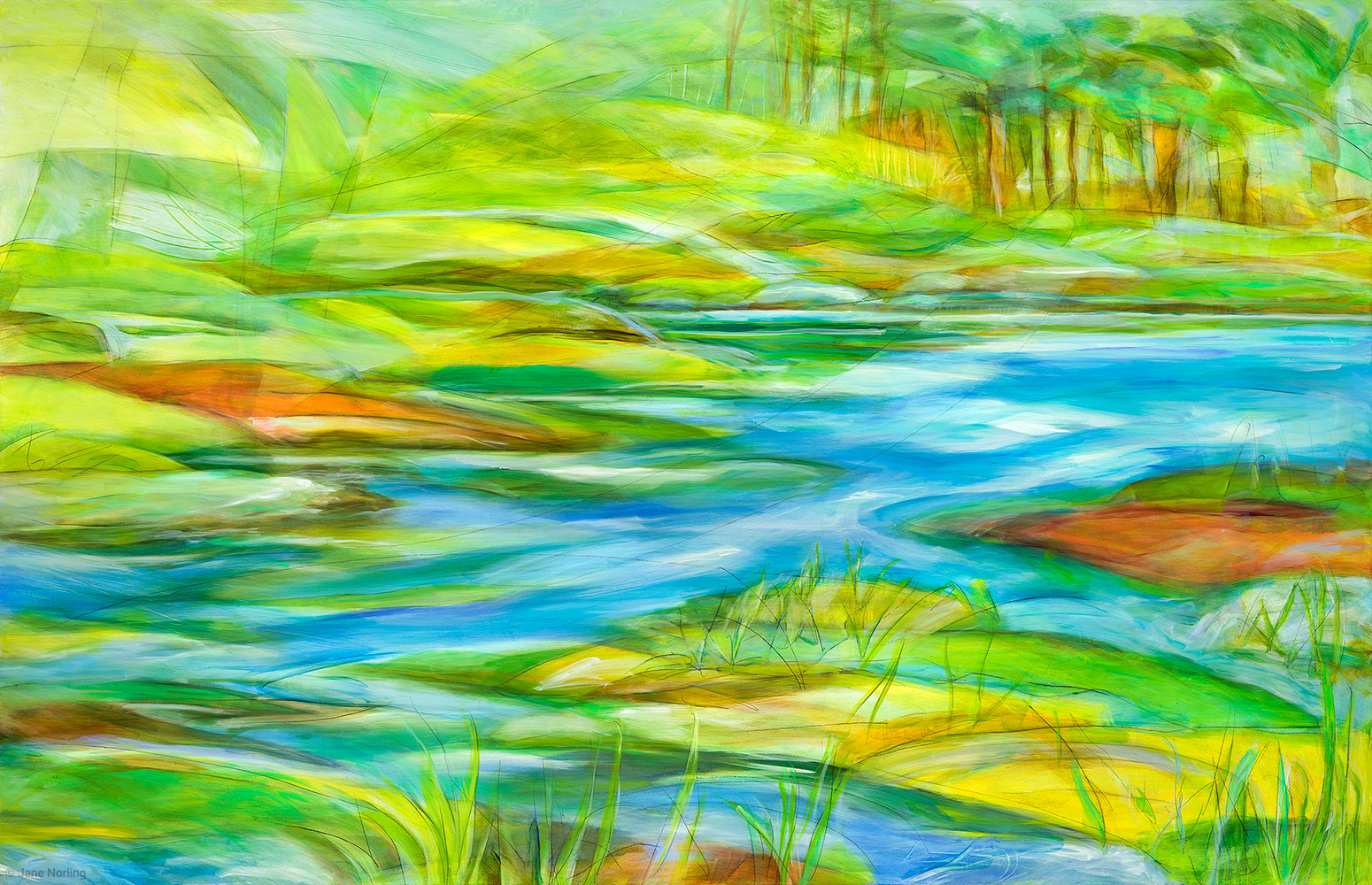 "Alameda County, Creek to Estuary , oil paint/graphite on panel, 40""x62"", 2016. Series  Alameda County Water , one of eleven paintings created as imagery for Alameda County Water, permanent installation of digital ceramic printing on glass, 1111 Jackson St, Oakland, CA. Sibila Savage Photography   Available"