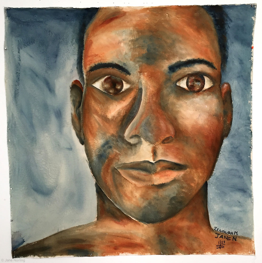 "Portrait , acrylic paint on unprimed canvas, 59""x60"", 2001. Student collaboration: Zenaura Smith paints left side of face, JN the right.  Family Collection"