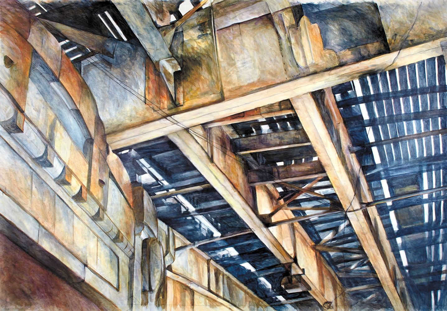 "Wilson Ave El , acrylic paint/graphite on canvas, 72""x96"", 2014   Available"