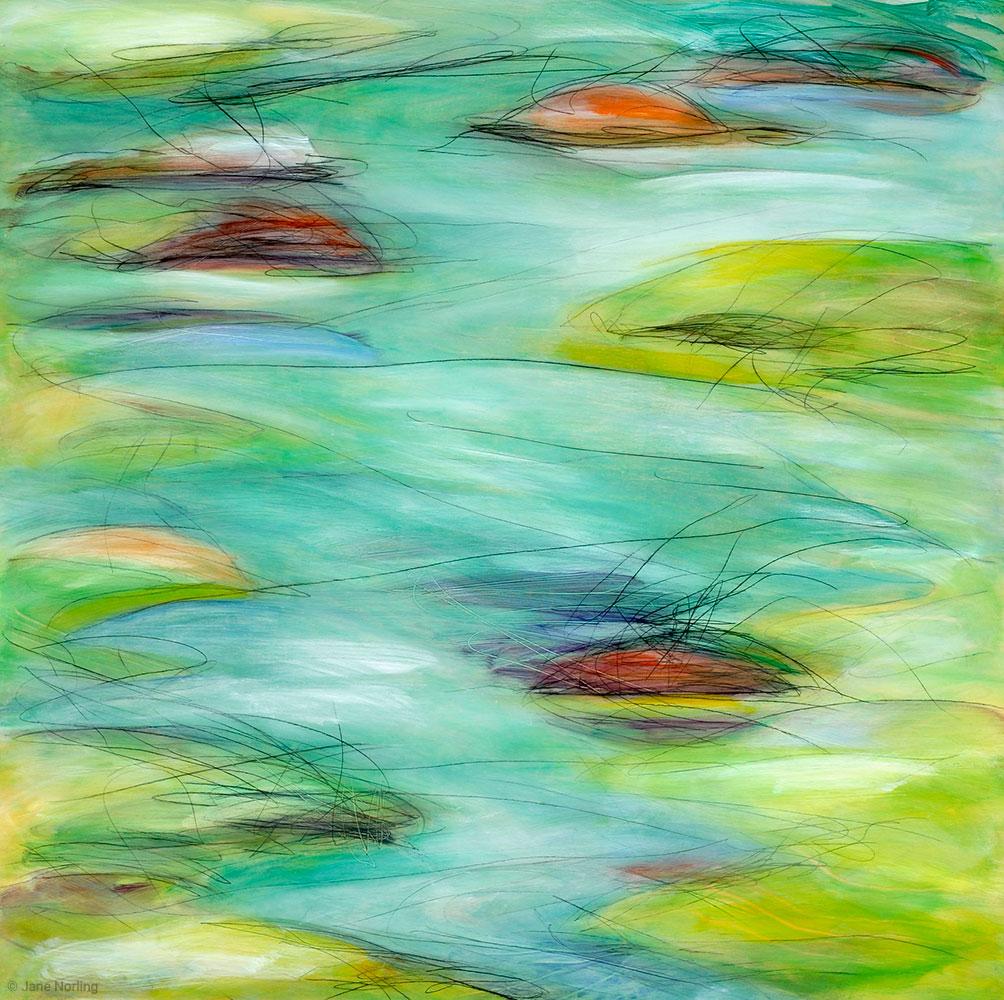 "The Lake The Islands , oil & graphite on alder panel, 30""x30"""