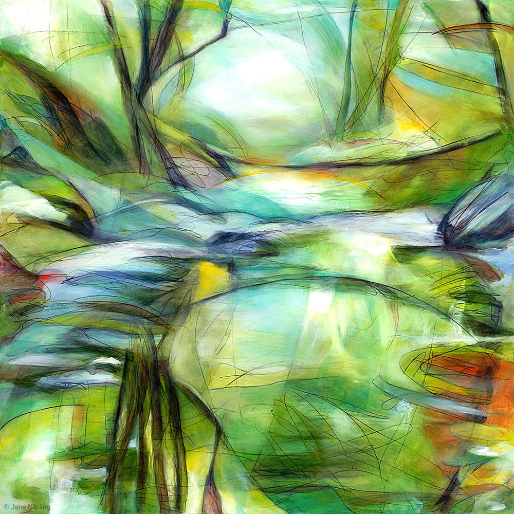 "Woods and water shape each other, Northern California.  Love the Woods , 40""x40"" oil & graphite painting on wood panel, 2011."