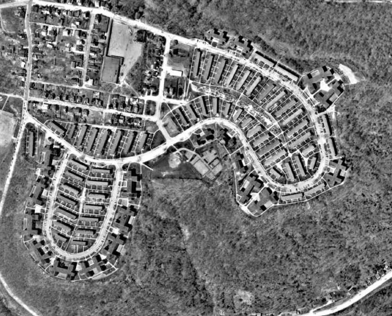 The former St Clair Village site. Locations of the housing building that were demolished.