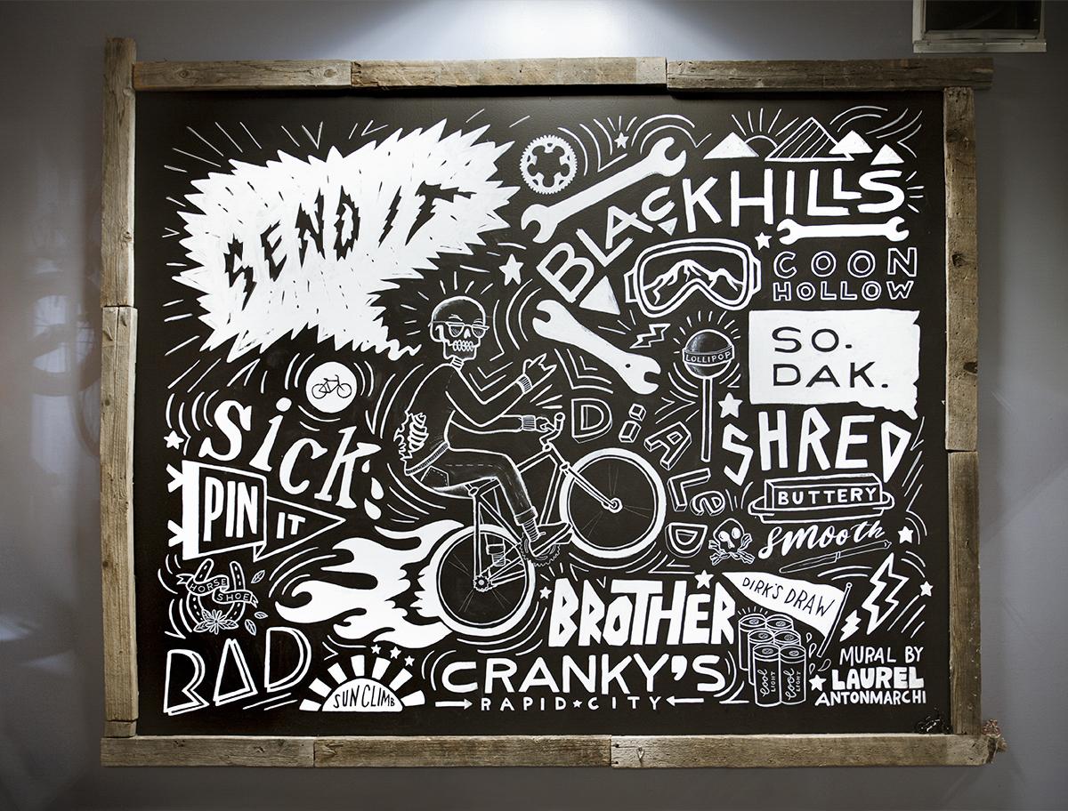Cranky's Bike Shop Chalkboard Mural Rapid City South Dakota