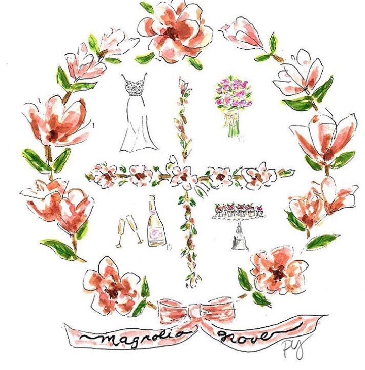 In Spring 2017, Pixie created a new logo crest for Magnolia Grove Wedding & Events located in North Carolina. They have used it for notecards, champagne label and stationary.www.magnoliagroveweddings.com -