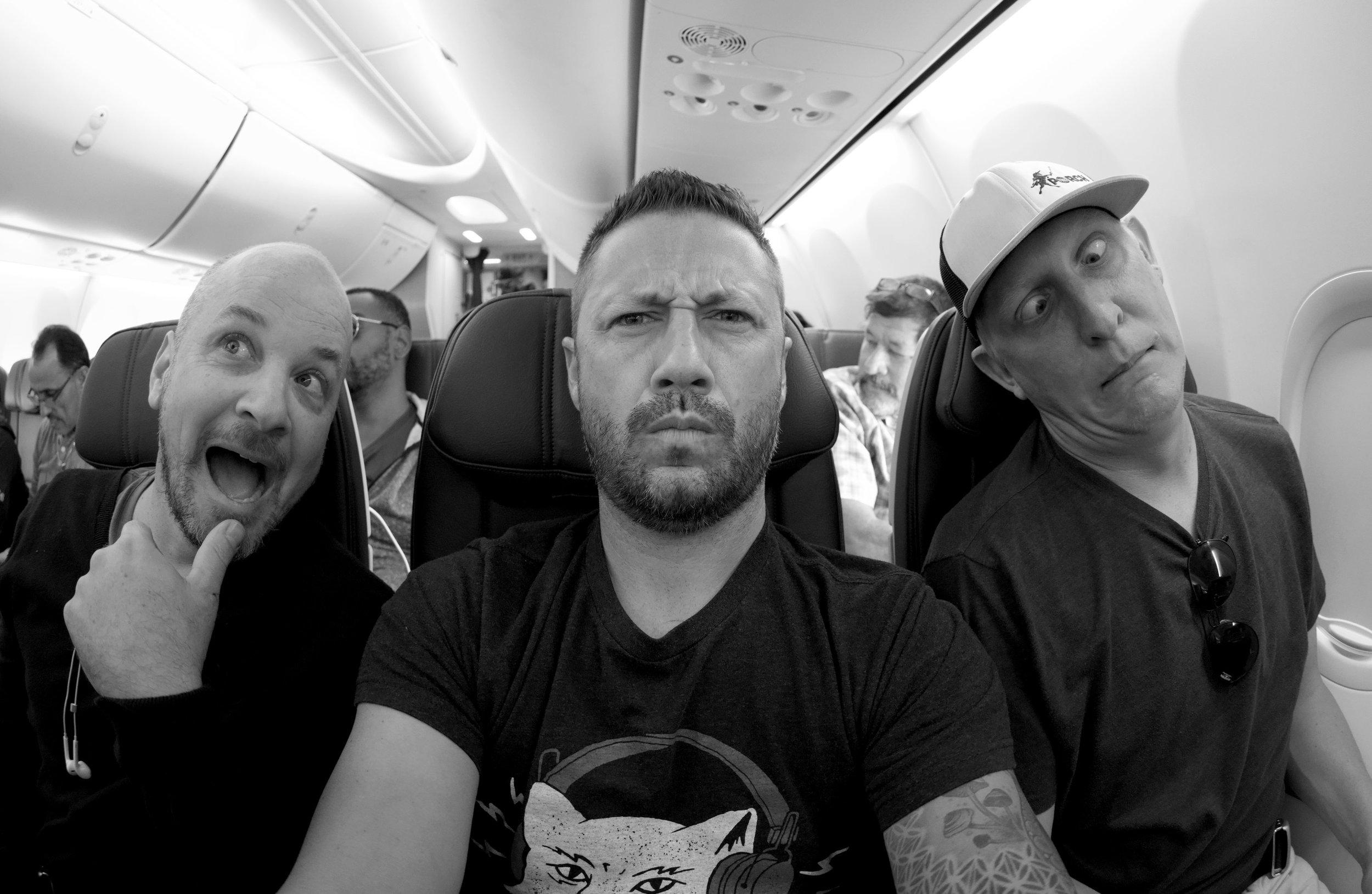 Marky Nick Chris on Plane bnw.jpg