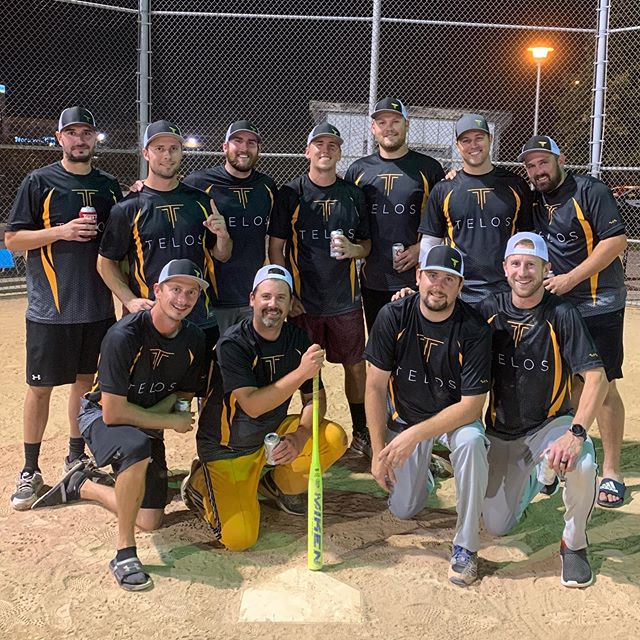 """Telos was founded on a few principles.. one of which is """"work hard, play hard,"""" which was instilled in me by my father, who implemented this in and out of work as well. Our softball team brought home the championship last night and no one would argue we didn't play hard!  So proud of our team and having the ability to rep our amazing company across our chests. 🥇"""